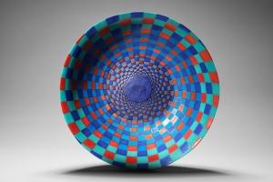Spiral squares ceramic bowl