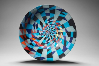 Blue prime number spiral ceramic bowl