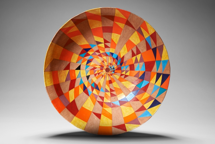 Yellow prime number spiral ceramic bowl
