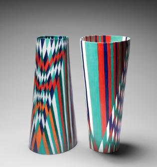 Tall Oval Vase, Woven (i) & (ii)