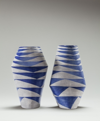 Vase blue grey pair 3 print