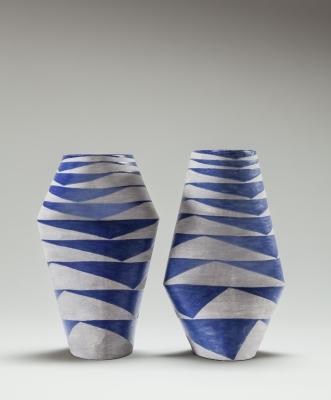 Vase blue grey pair 3 print