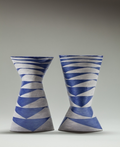 Vase blue grey pair 4 print