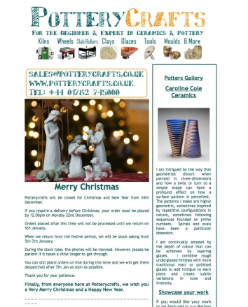 Potterycraft christmas email