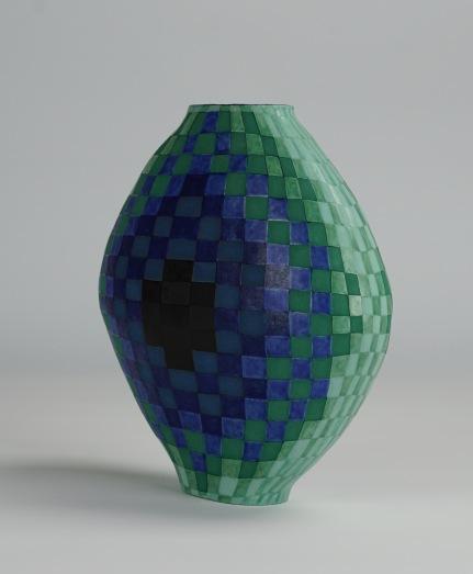 Flat Oval Vase, Squares (ii)